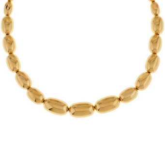 """As Is"" Oro Nuovo 18"" Graduated Oval Bead Necklace, 14K - J331307"