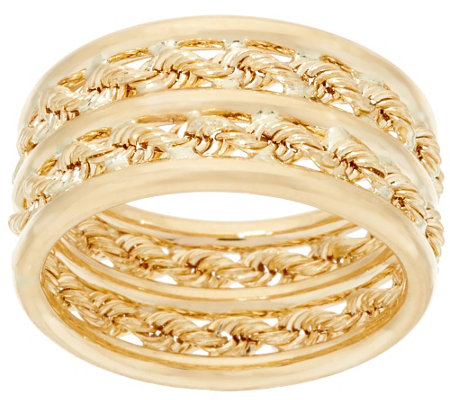"""As Is"" EternaGold Polished & Rope Band Ring, 14K Gold"