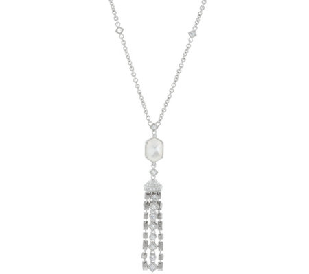 Judith Ripka Sterling Silver Diamonique Tassel Necklace