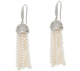 Honora Cultured Pearl 3.5mm Tassel Sterling Earrings - J331807