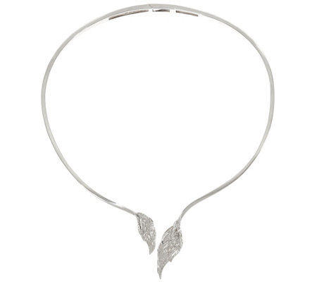 """As Is"" Angel Wing Diamond Collar,Sterl. 1/4 cttw, by Affinity"