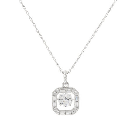 Diamonique Mixed Cut Twinkle Pendant w/ Chain, Platinum Clad