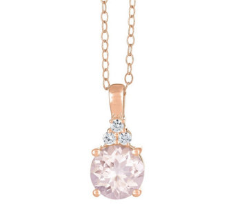 Premier Round Morganite and 1/10cttw Diamond Pendant, 14K - J336207