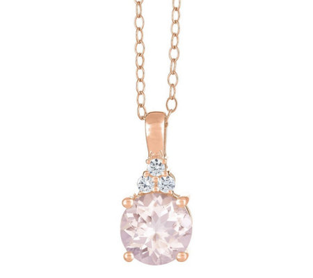 Premier Round Morganite and 1/10cttw Diamond Pendant, 14K
