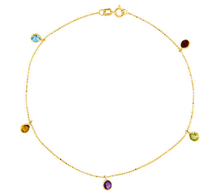 "9"" 1.25 cttw Gemstone Station Bead Chain AnkleBracelet, 14K"