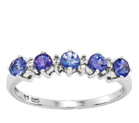 Sterling Tanzanite Round 5-Stone Band Ring