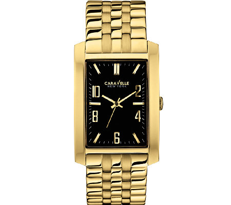 Caravelle New York Men's Goldtone Black Face Watch
