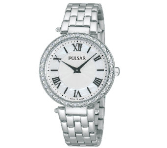 Pulsar Women's Stainless Steel Crystal-AccentedWatch - J337607