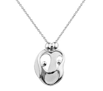 Loving Family Sterling 2 Parent & 2 Children Pendant w/ Chain - J337707