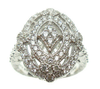 Judith Ripka Sterling Diamonique Openwork Ring - J338007