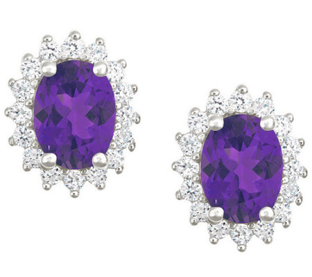 Premier 2.00cttw Oval Amethyst & Diamond Earrings, 14K