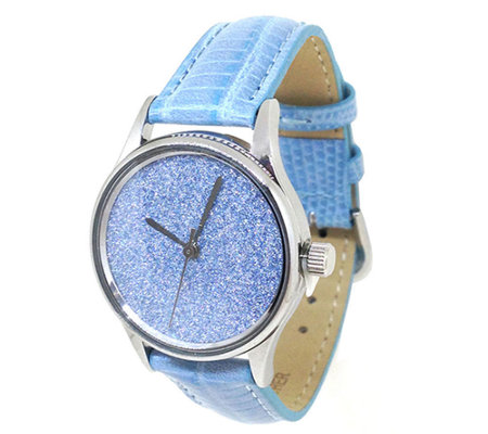 Gossip Glitter Faced Watch with Leather Strap