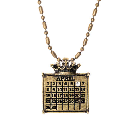 Personalized Brasstone Calendar Crown Charm Necklace