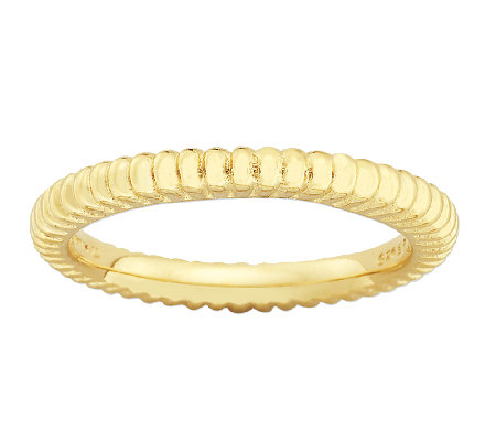 Simply Stacks Sterling & 18K Gold Plated RibbedTextured Ring