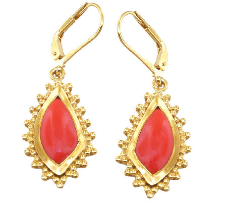 Sterling & 14K Gold-Plated Red Agate Lever BackEarrings