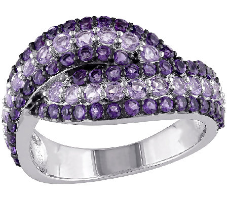 1.50cttw Purple Gemstone Highway Band Ring, Sterling