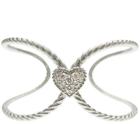 Judith Ripka Sterling Diamonique Heart Open Cuf f