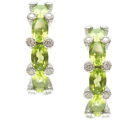 "Judith Ripka Sterling 4.00cttw Peridot 1"" Hoop Earrings"