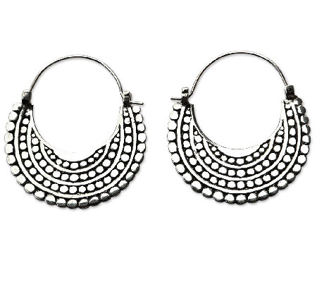 Novica Artisan Crafted Sterling Crescent Hoop Earrings