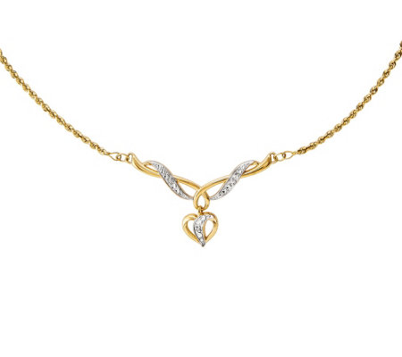 "Two-Tone Dangle Heart 17"" Necklace 14K Gold"