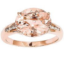 Oval Morganite and Diamond Accent Ring, 14K Rose Gold - J342207