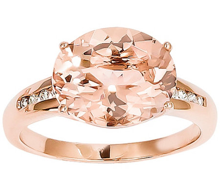 Oval Morganite and Diamond Accent Ring, 14K Rose Gold