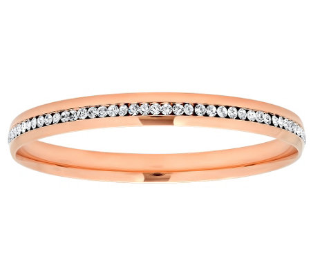 Steel by Design Stainless Steel Crystal BangleBracelet