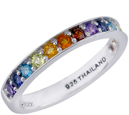 Luv Tia Sterling Multi-Gemstone Band Ring