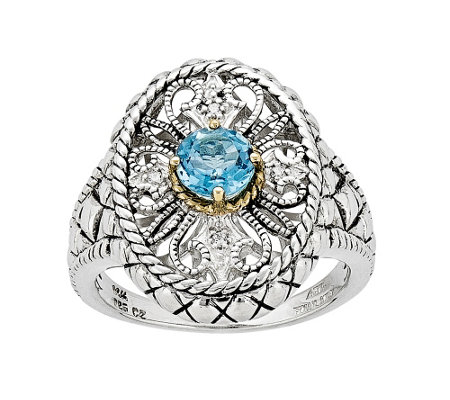 14K & Sterling Blue Topaz & Crystal Filigree Oval Fancy Ring