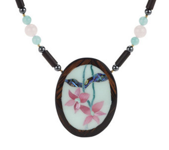 Lee Sands Limited Edition Oval Flower Inlay Necklace - J343607