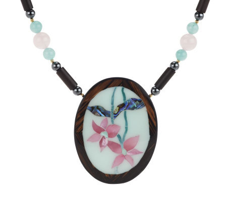 Lee Sands Limited Edition Oval Flower Inlay Necklace