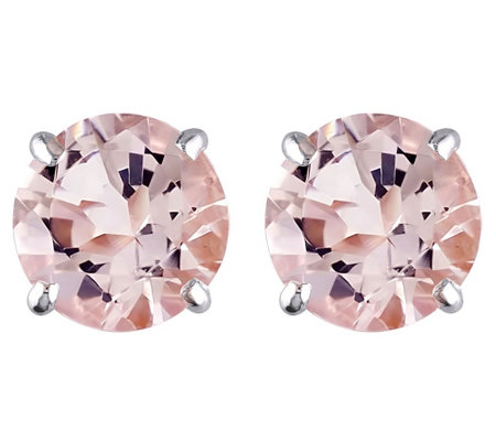 0.95 cttw Morganite Stud Earrings, 14K White Gold