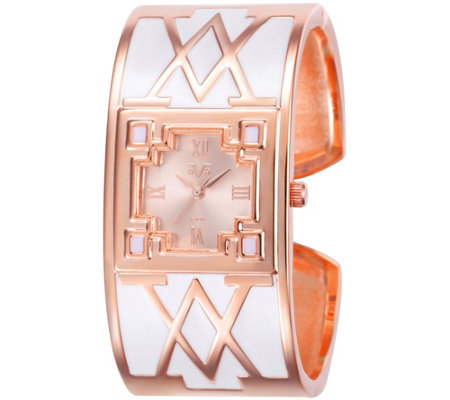 Women's Rosetone and White Bangle Cuff Watch