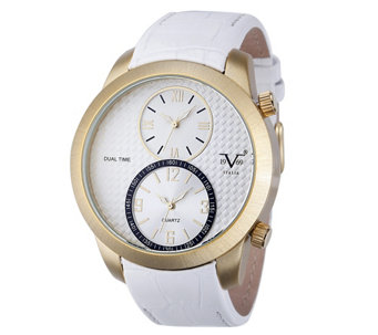 V19.69 Italia Men's Dual-Time Goldtone Watch with White Dial - J344507