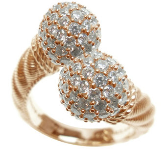 Judith Ripka 14K Rose Gold-Clad & Pave Diamonique Bypass Ring - J345807