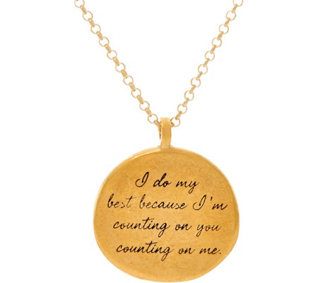 "Maya Angelou ""I do my best"" 14K Gold Plated Quote Pendant by Dogeared"