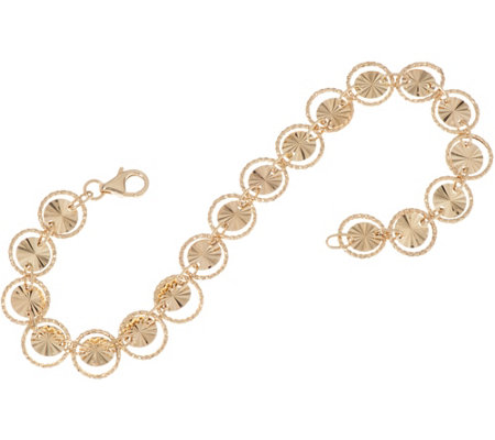 "14K Gold 6-3/4"" Diamond Cut Circle Bracelet 3.4g"