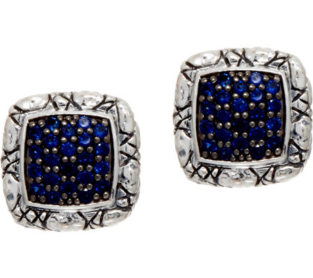 JAI Sterling Silver Pave Sapphire Croco Texture Stud Earrings