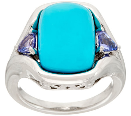 """As Is"" Kingman Turquoise and Tanzanite Sterling Ring"