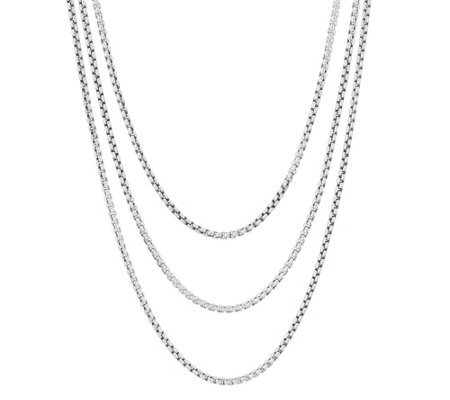 """As Is"" JAI Sterlinig Silver Triple Box Chain Necklace, 46.5g"