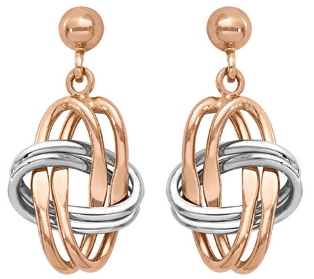 14K Gold Two-tone Knotted Dangle Earrings