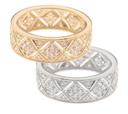 Diamonique Vintage Style Band Ring 14K Gold