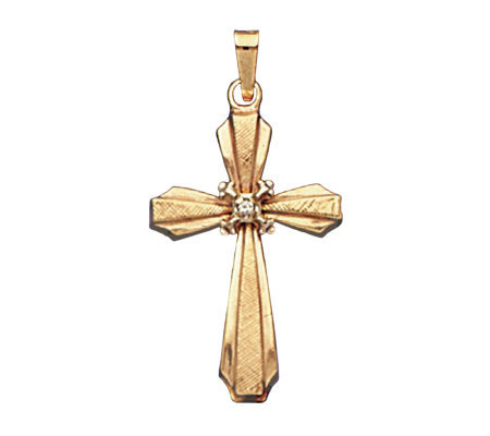 14K Gold Satin Fashion Cross Charm with DiamondAccent