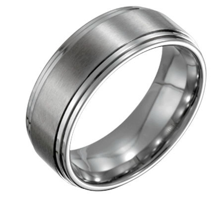 Forza Men's 8mm Steel Satin and Polished Ring
