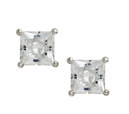 Diamonique 2.00 cttw Princess Cut Stud Earrings , Platinum Cla