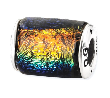 Prerogatives Sterling Rainbow Dichroic Glass Barrel Bead