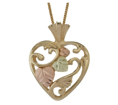 Black Hills Open Heart Pendant, 10K/12K Gold