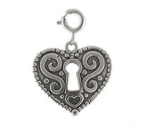 Sterling Heart Lock Charm - J113908