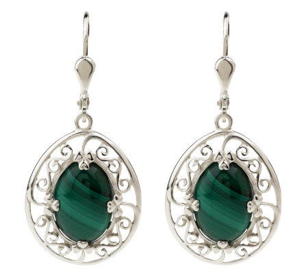 JMH Jewellery Sterling Silver Oval Malachite Shamrock Earrings