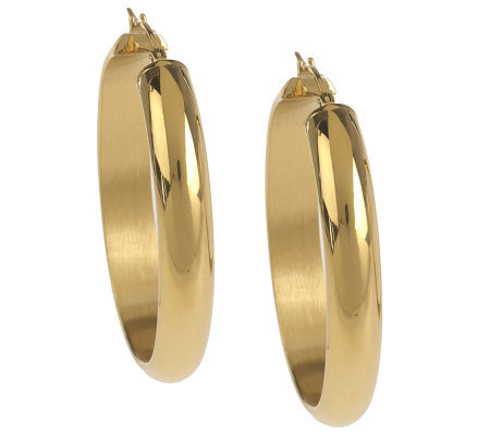 Stainless Steel Polished Oval Hoop Earrings